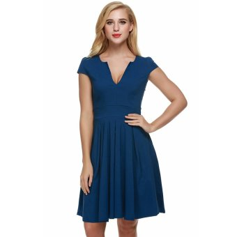 Cyber ANGVNS Women Short Sleeve Slim Bodycon Wrap Tunic Cocktail Party Pencil Dress ( Blue ) - Intl
