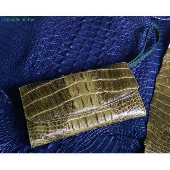 Ví cầm tay opba da cá sấu gấp 3 màu xanh rêu