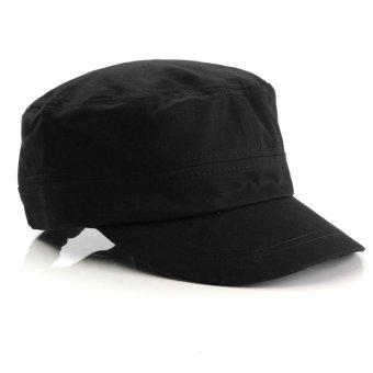 Men Women Army Hat Cadet Military Cap Star Adjustable Outdoor Vintage Nylon Black - Intl