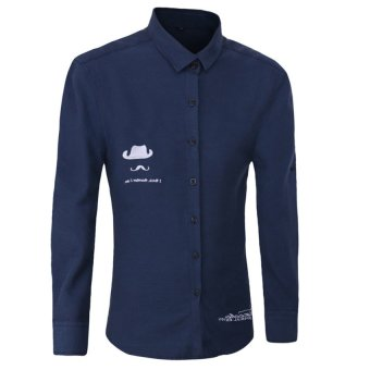 2016 New Korean Style Fashion Pure Color Basic Shirt Male Slim Fit Solid Long Sleeve Men Shirts(Deep Blue) - intl
