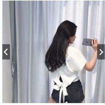 Áo thun cut out cột dây lưng (Màu trắng)