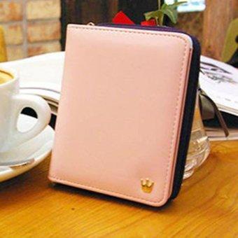 Moonar Women Short Wallet Candy Color Two fold crown zipper Purse Card Holder Bags (Pink) - intl