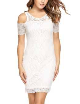 Cyber Women Cold Shoulder Short Sleeve Bodycon Floral Lace Party Cocktail Dress ( White ) - intl