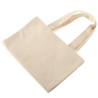 Creamy White Cotton Canvas Shopping Shoulder Tote Shopper Bag Eco Friendly Gift - intl