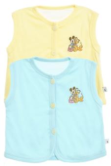 Bộ 2 áo khỉ thêu trẻ em Nanio A0004-Vxn (Vàng Xanh Nhạt)