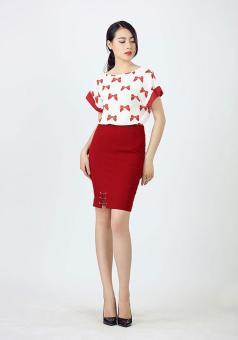 Áo sơ mi lụa tay liền hình nơ màu đỏ Bella moda