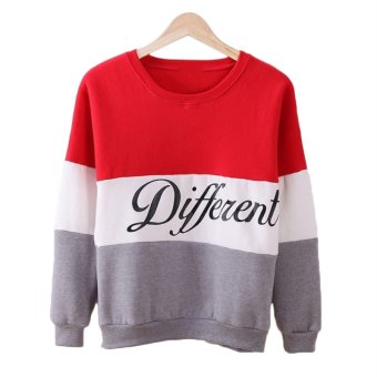 Fancyqube Hoody Women Clothing Casual Pullovers Long Sleeve Red Grey - Intl