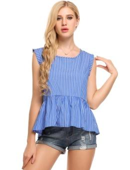 Cyber Women Casual O-Neck Sleeveless Striped Ruffle Hem Design Loose Blouse T-shirt ( Light Blue ) - intl