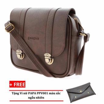 Túi đeo chéo PAPA PPT004 (Màu Nâu) + Ví nữ PAPA PPV001