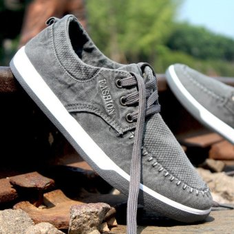 Fashion England Men's Breathable Recreational Shoes Lace up Suede Casual Shoes Gray - intl