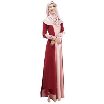 New Fashion Women Muslim Dress Spliced Color Block Crochet Lace Zipper Long Sleeve Arab Maxi One-Piece - intl