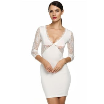 Sunweb ANGVNS Women Lace Splicing Pencil Dress Deep V Neck Backless Slim Hip Package Casual Mini Dress ( White ) - intl