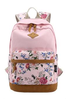 Girls Student Flower Printed Multi-purpose Canvas Schoolbag School Outdoor Travel Backpack Tablet Laptop Carry Bag Pink