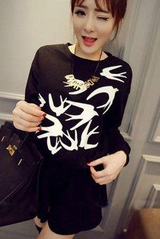 Cyber Women Swallow Print Waisted Long Sleeve Tops Black - Intl