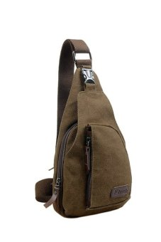 HKS Cool Outdoor Sports Casual Canvas Unbalance Backpack Crossbody Sling Bag Shoulder Bag Chest Bag for Men Coffee S - intl