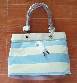 Túi xách nữ Tommy Hilfiger Camille Rugby Tote Top Handle Bag (Mỹ) (Sọc xanh trắng)