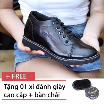 Giày da nam tăng chiều cao SMARTMEN GD2-08 (Đen) + Tặng 1 hộp xi đen và 1 bàn chải