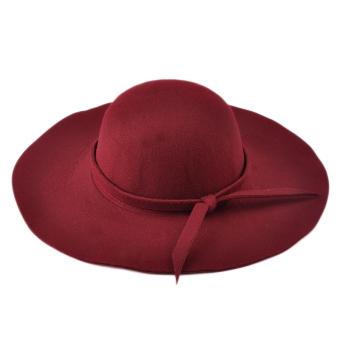 Moonar Women Vintage Big Brim Sun Shade Hat Cap Red