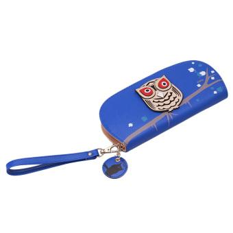 LALANG Owl Pattern Zipper Long Wallet Purses Card Holder (Dark Blue)