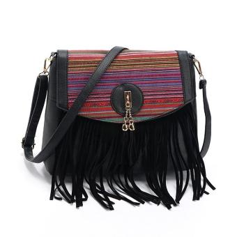 Vintage Women Leisure Tassel Retro Splicing Romantic Shoulder Messenger Bag BK - intl