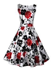 Fancyqube Floral Print Maxi Dresses Women Beach Long Print Dress White Red