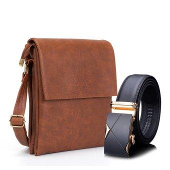 Bộ túi đeo chéo S1 nâu da bò và Thắt lưng khóa tự động TGV