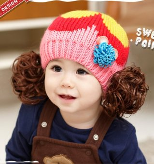 Cute Winter Kids Girls Boys Kintted Hat Candy Color Block Toddlers Babies Warm Children Beanie Cap - intl