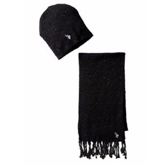 Bộ khăn choàng & mũ len đen nam U.S. Polo Assn. Men's Donegal Hat and Scarf Set (Mỹ)