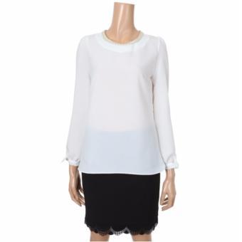 Áo kiểu thời trang ROEM cổ tròn (White)