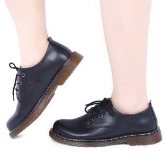 Retro England Style Round Toe Lace Up Male Leather Shoes(Black) - intl