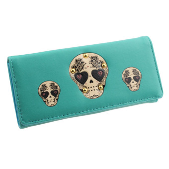 Women Creative Rivet Skull Pattern Wallet Green