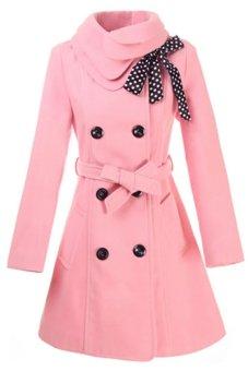 Cyber Women Casual Double-breasted Luxury Long Wool Coat with Belt (Pink) - Intl
