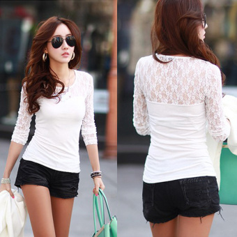 White Women See-through Lace Tee Shirt Tops - intl