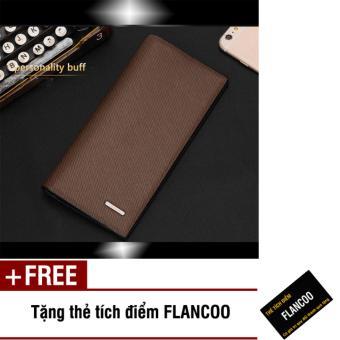 Bóp ví nam dài da PU Flancoo 9072 (Nâu) + Tặng kèm thẻ tích điểm Flancoo
