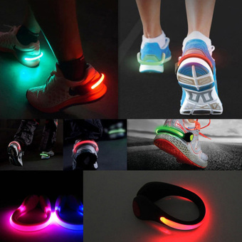 Moonar Shoes Accessories Unisex Luminous Night Safety Warning Shoes Clip LED Light One Size (Red) - intl