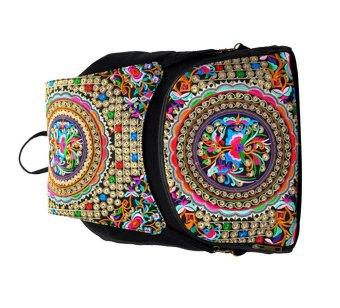 niceEshop National Embroidery Flower Cabvas Travel Backpack Bag - intl