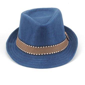 Moonar Kids Unisex Fedora Hat Contrast Trim Cool Jazz Hat Trilby Cap Chapean (blue) - intl