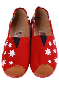 LALANG Fashion Canvas Shoes Star Printed Casual Sneakers Red - intl