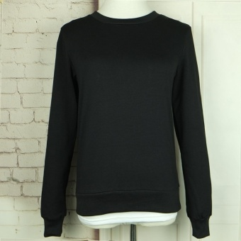 Gamiss Woman Polyester Letter Printing Slash Sweater (Black) - intl