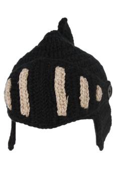 LALANG Hand-Knit Beanie Roman Knight Masks Cap (Black Beige)