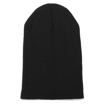 Unisex Knitted Plain Beanie Hiphop Cap Skull Cuff Winter Hat Crochet Solid Color black - Intl