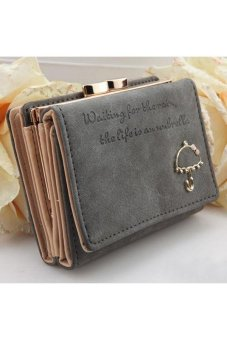 Moonar Cute Umbrella Pattern PU Leather Wallet Purse (Grey)