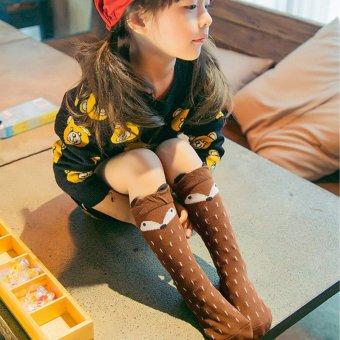 Children Knee High Cartoon Socks 2016 Fashion Kids Fox Socks Leg Warmers Cotton Sock Baby Girls Children Soft Kawaii Long Sock 12M-3Y - intl