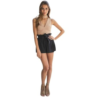 Woman V-Neck Crop Top Fashion Sexy Summer (Khaki) - Intl - intl