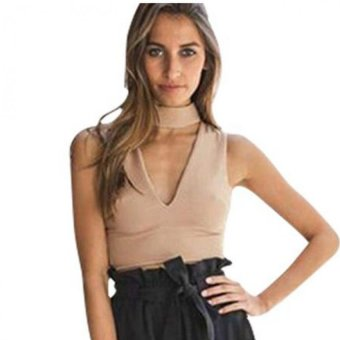 Mua Woman V-Neck Crop Top Fashion Sexy Summer (Khaki) - Intl - intl giá tốt nhất