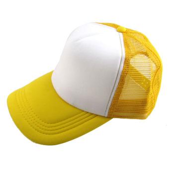 Casual Hat Solid Baseball Cap Trucker Mesh Blank Visor Hat Yellow+White