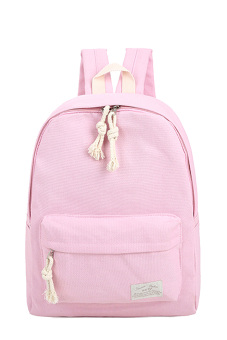 Girls Student Pure Color Multi-purpose Canvas Schoolbag School Outdoor Travel Backpack Tablet Carry Bag Pink