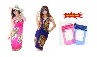 Bộ 2 khăn choàng đi biển duyên dáng+tặng kèm 2 túi điện thoại chống thấm nước(Hồng+xanh)