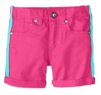 Quần short hồng bé gái U.S. POLO ASSN. Little Girls' Twill Short with Side Seam Taping (Mỹ)