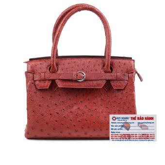HL6402 - Túi xách Huy Hoàng da đà điểu màu nâu đỏ